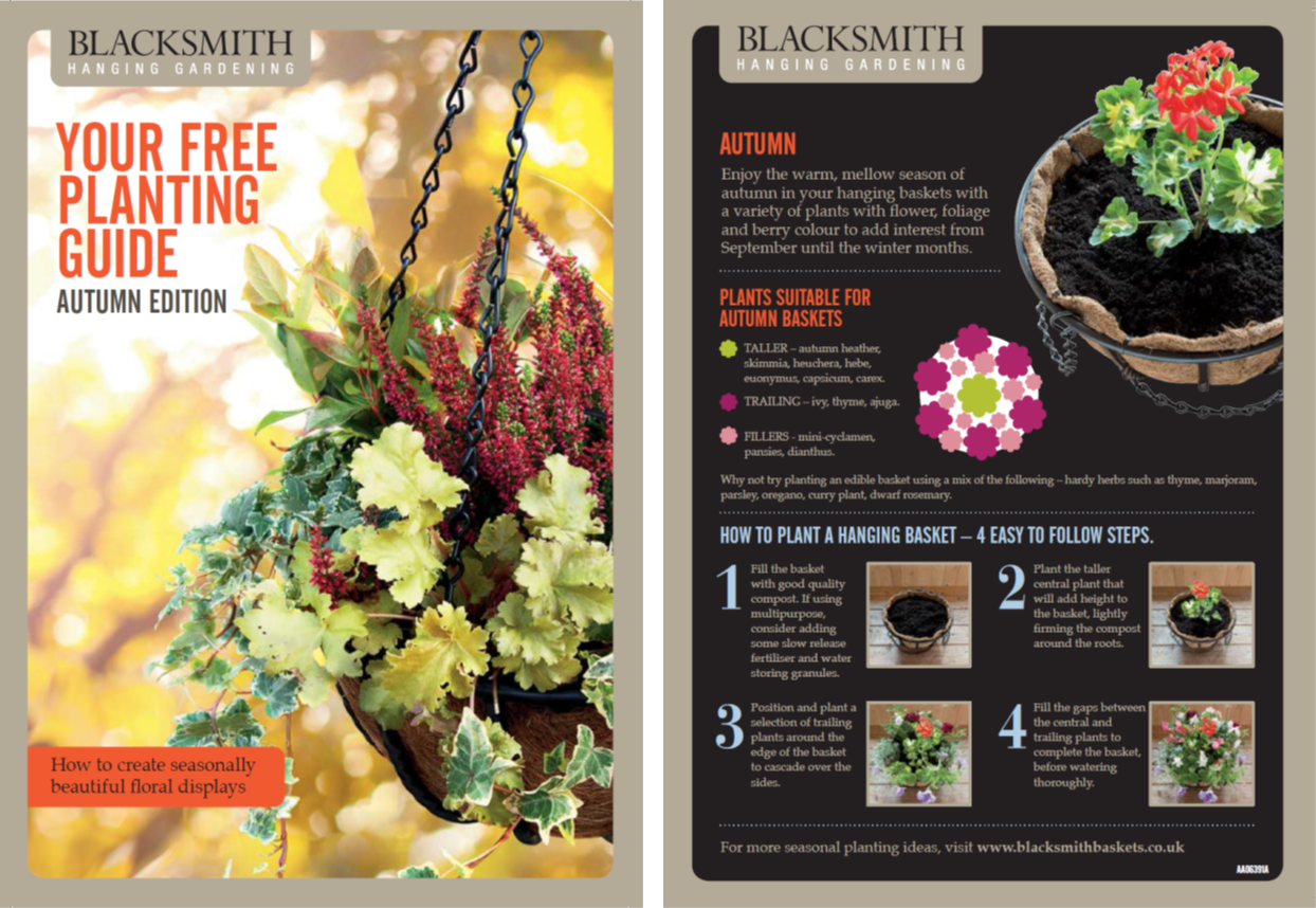 Your Free Planting Guide: Autumn  Enjoy the warm, mellow season of autumn in your hanging baskets with a variety of plants with flower, foliage and berry colour to add interest from September until the winter months.
