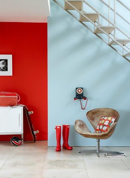 Hallway   \u0027Atomic Red\u0027 \u0027Brighton\u0027 New Home Pinterest  Rot   Wohnzimmer Design Turkis