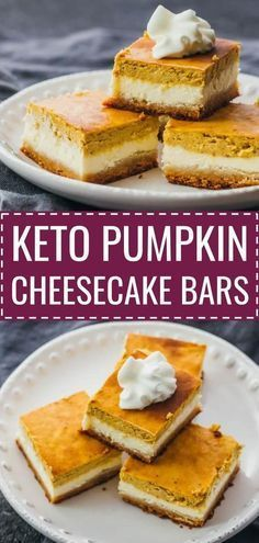 These healthy pumpkin cheesecake bars are layered with a bottom almond crust, a middle cheesecake layer, and a top pumpkin layer. keto / low carb / diet / atkins / induction / meals / recipes / easy / dinner / lunch / foods / healthy / gluten free / paleo / squares / bites / mini / best / pie / thanksgiving / fall / holidays / homemade / desserts / individual / philadelphia / simple / light / from scratch / filling / fresh / creamy / small / ideas / autumn #lowcarb #pumpkin #cheesecake #simplecheesecakerecipe