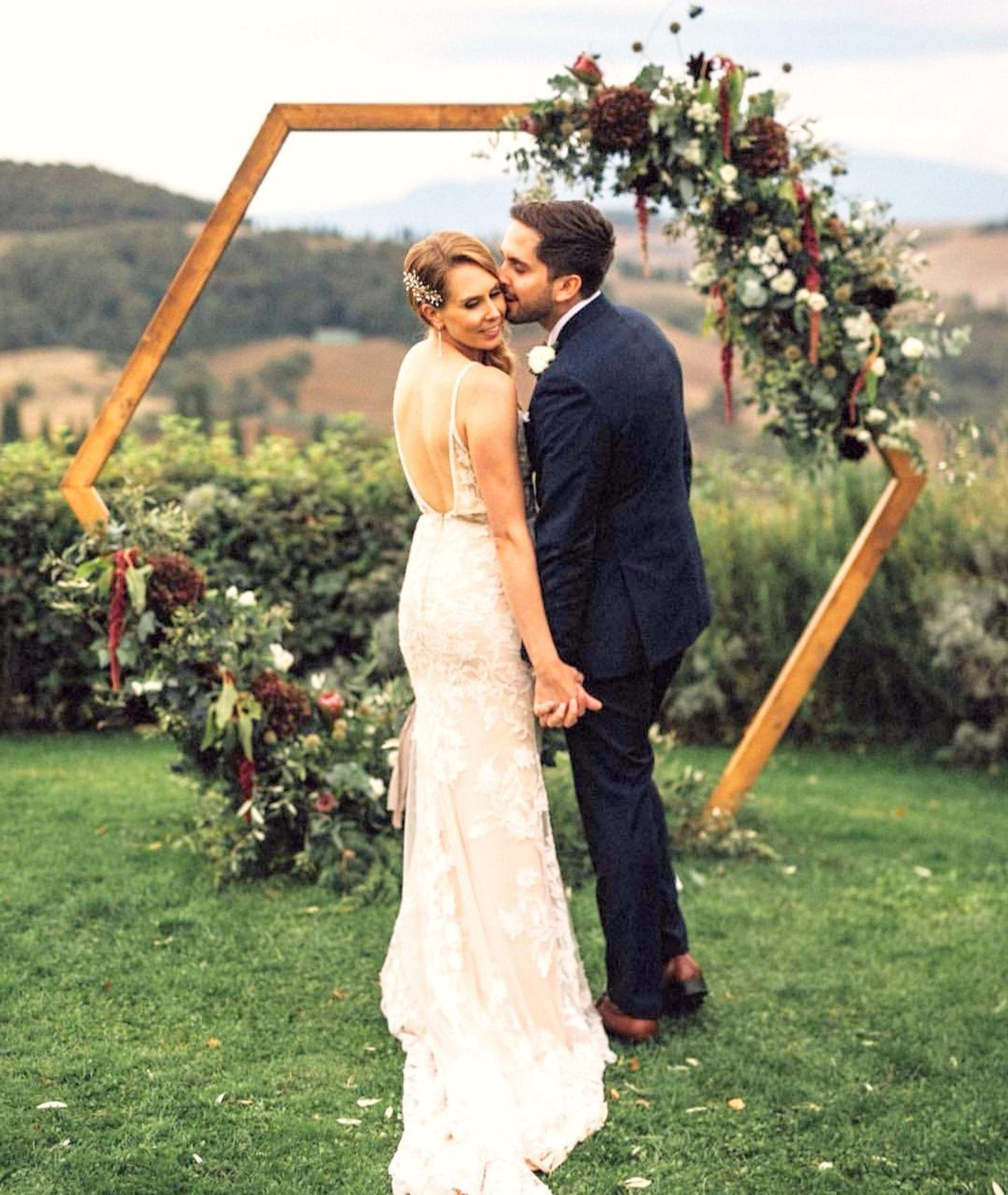 Hexagon wedding arch wooden rustic wedding arbor ceremony