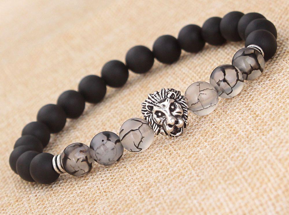 f27e5250379a Piedra de lava caliente para hombres de Moda Negro Plata Con cuentas  Brazalete Pulsera Brazalete de