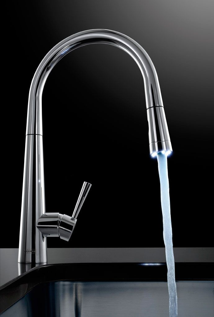 The futuristic Rolux Pull-Out Nozzle tap by Franke comes with an LED ...
