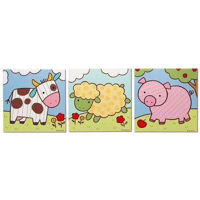Metal Art Studio \'Farm Animals\' 3 Piece Graphic Art Print Set on ...