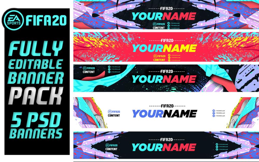 Fifa 20 Banner Pack Fifa 20 Fully Editable Psd Banners Lobotz Diseno Banner Disenos De Unas
