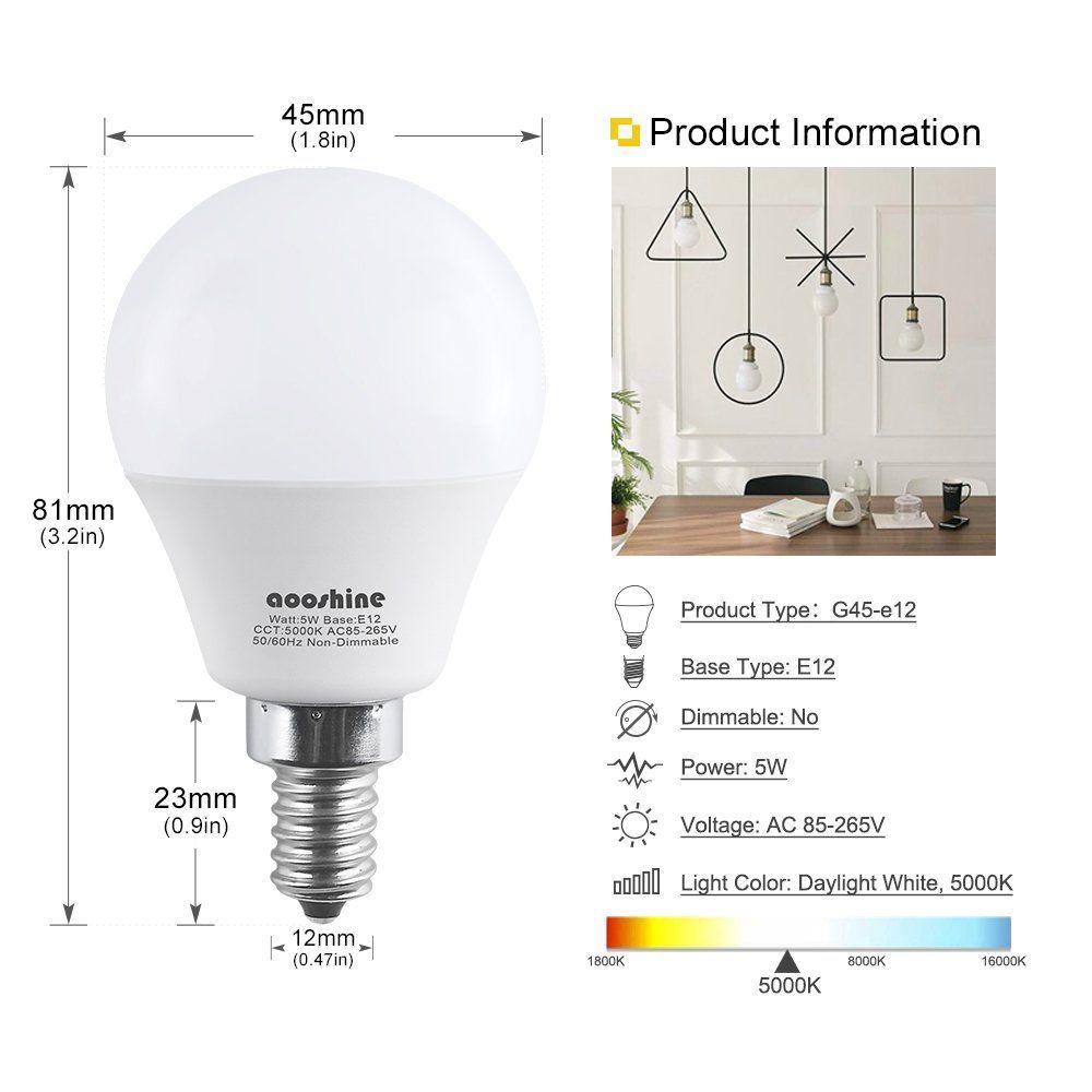 E12 Led Bulb 50 Watts Aooshine 5 Watt Led Candelabra Bulb Daylight White 5000k Decorative G14 Led Bulbs For Ceil Led Candelabra Bulbs Led Bulb Candelabra Bulbs