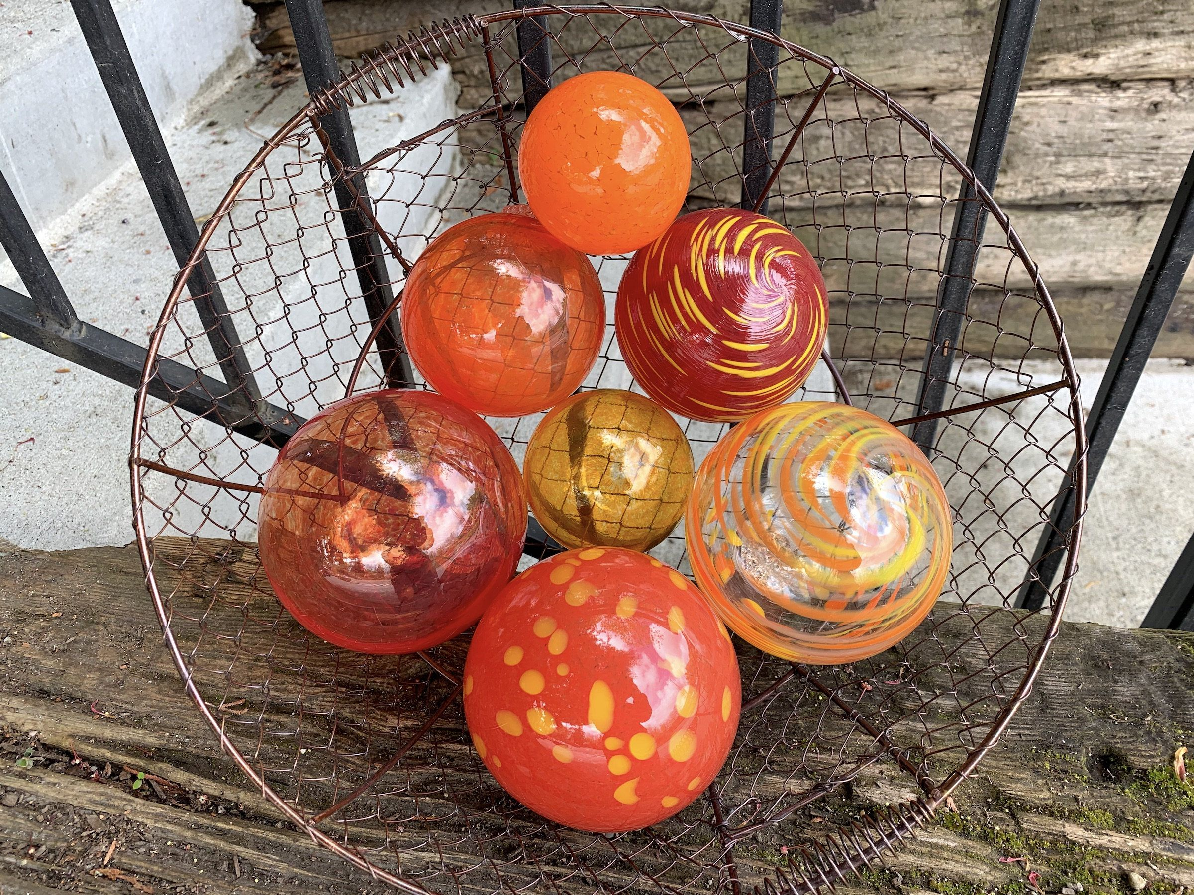 Reds And Oranges Set Of Seven Blown Glass Floats 3 To In 2020 Glass Floats Glass Blowing Garden Spheres