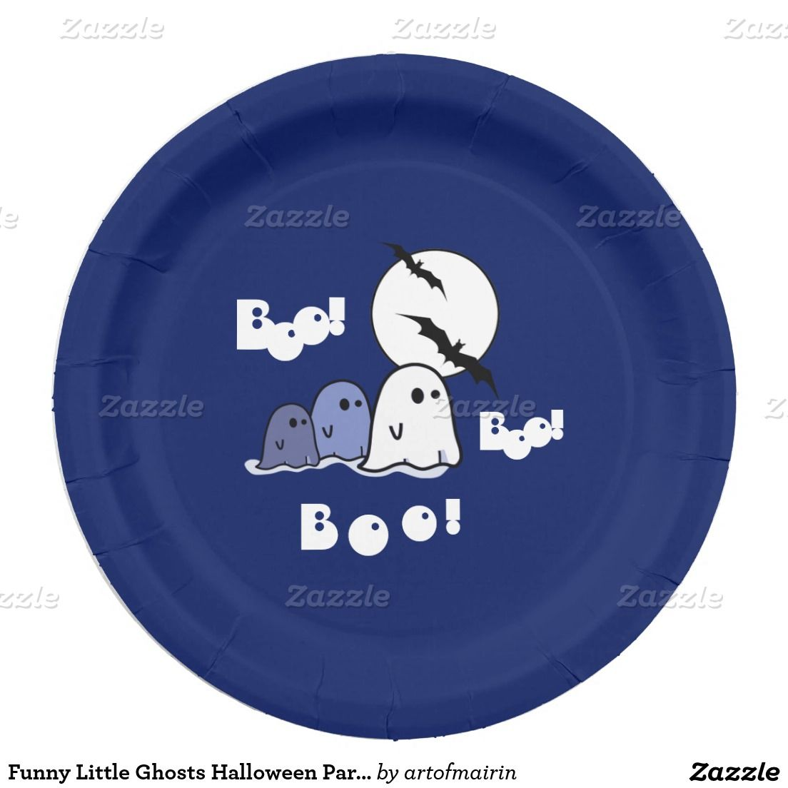 Funny Little Ghosts Halloween Party Paper Plates for kids. Matching cards  Halloween  sc 1 st  Pinterest & Funny Little Ghosts Halloween Party Paper Plates