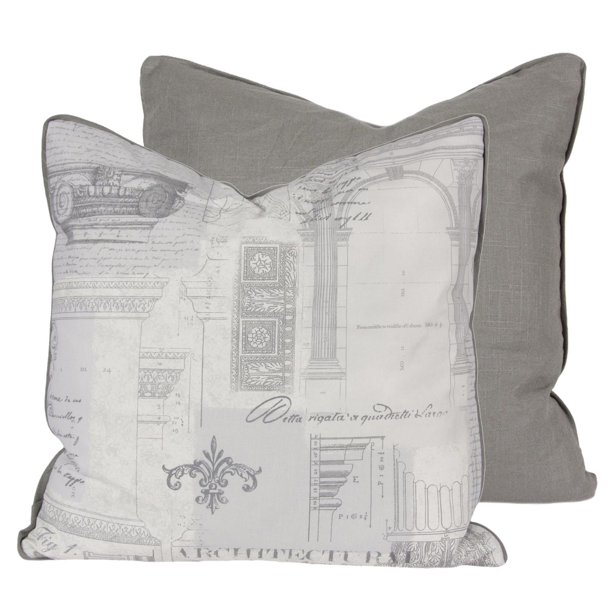 "gray farm pillow with feather insert Price $50 CAD size 22""x22"