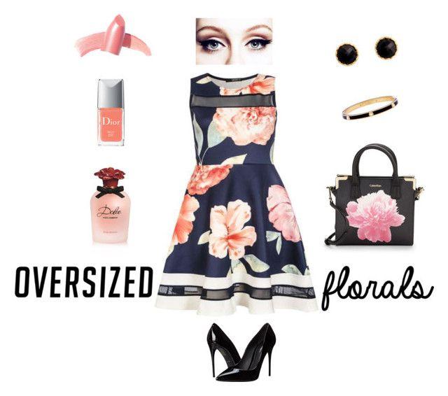 """Oversized Florals"" by kelliejdesigns on Polyvore featuring Dorothy Perkins, Dolce&Gabbana, Calvin Klein, Rivka Friedman, Henri Bendel, Elizabeth Arden, Christian Dior, polyvorefashion and oversizedflorals"