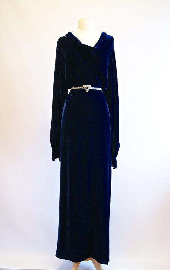 Vintage 1930s Blue Velvet Gown 30s Bias Cut Silk by xtabayvintage