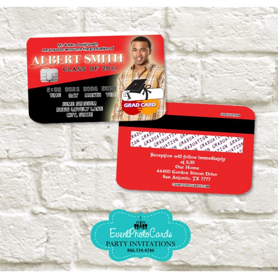 Red & Black Graduation Announcement Cards - Credit Card   Graduation ...