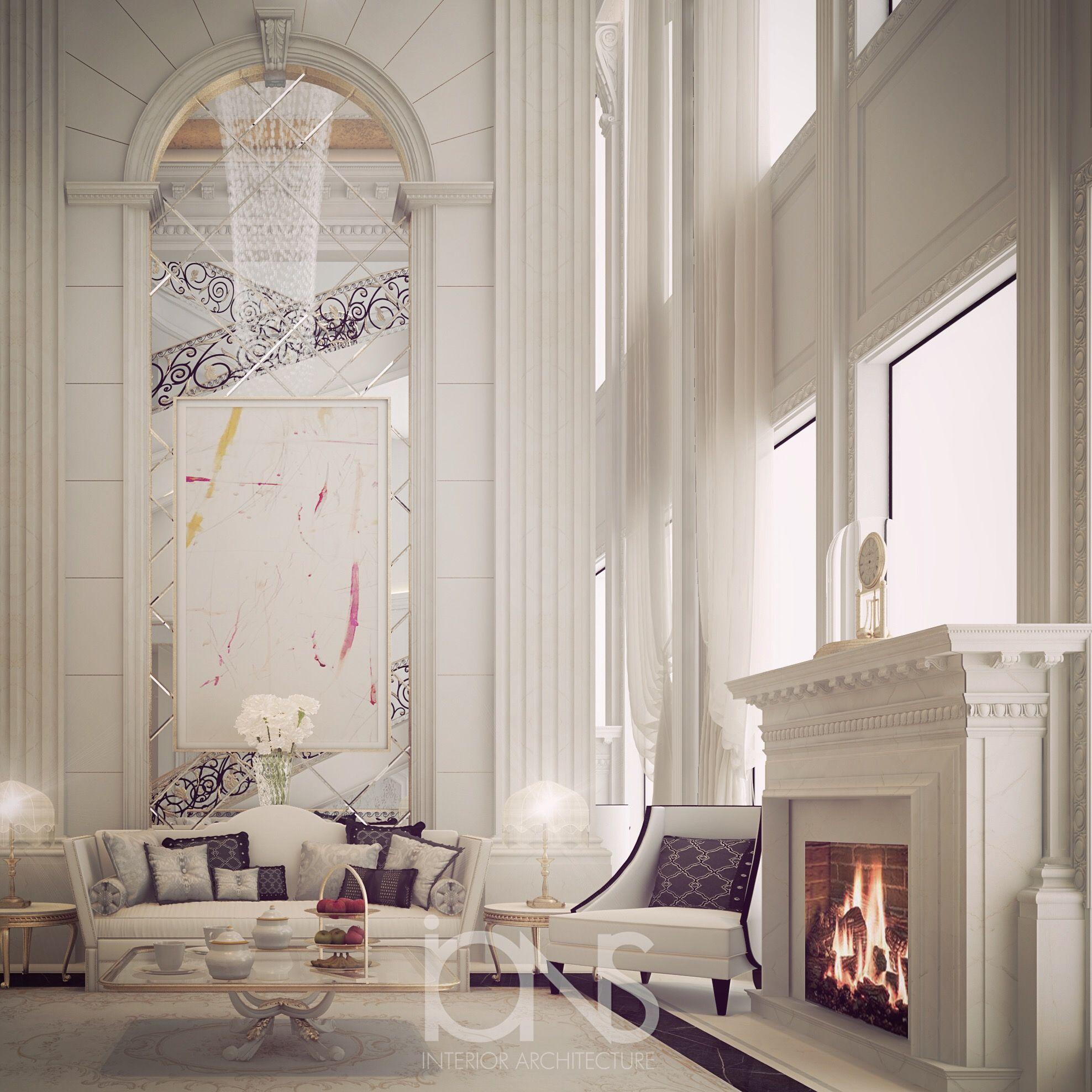 Fireplace lounge design Doha Qatar