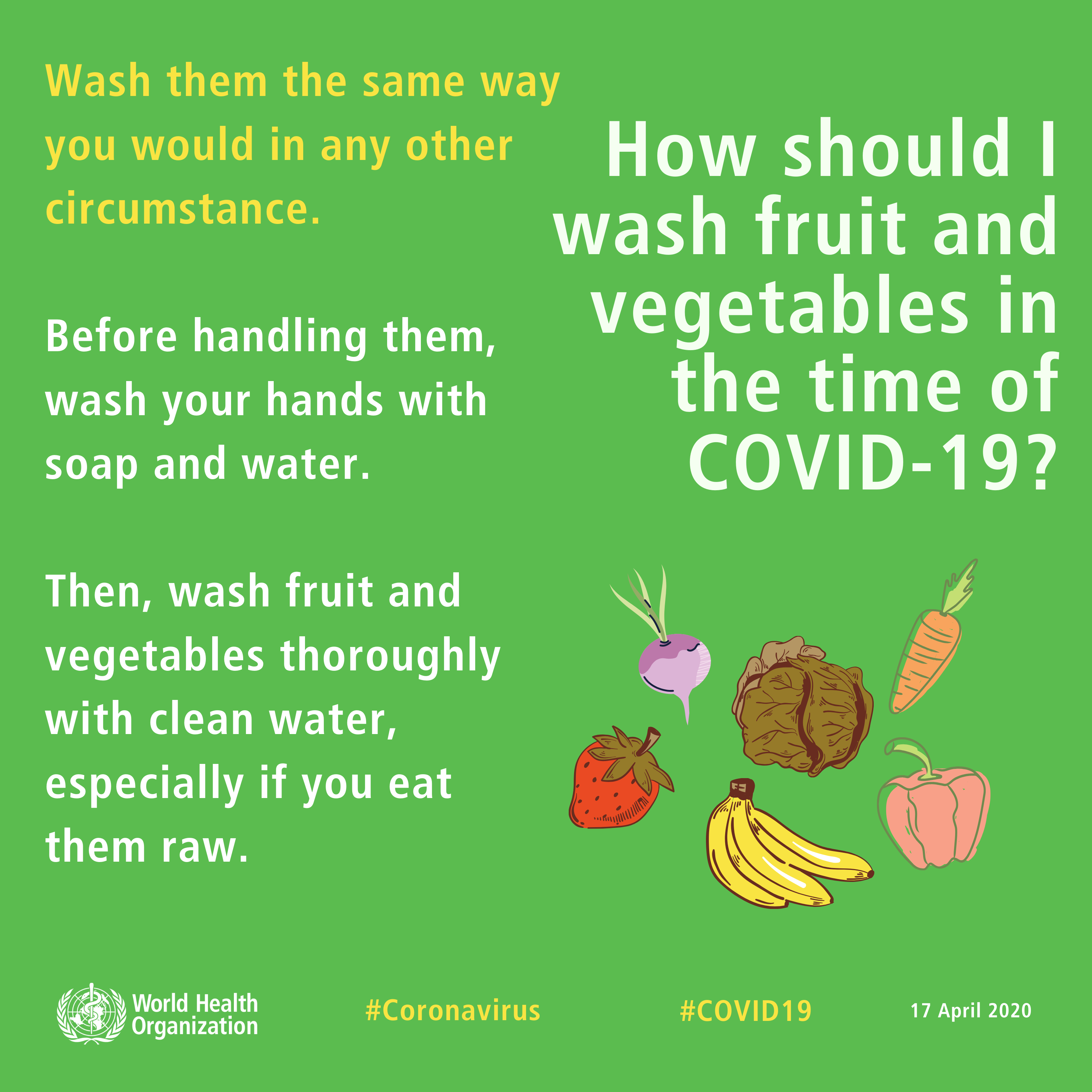 Q How should I wash fruit and vegetables in the time of