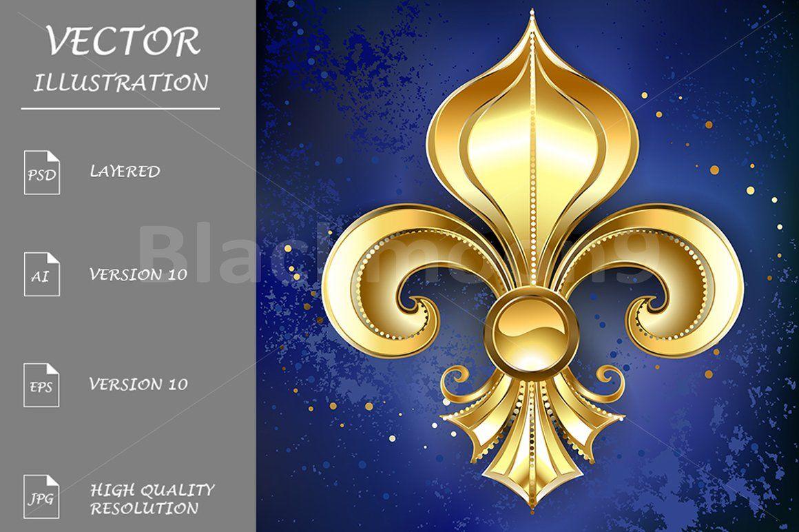 Gold Fleur De Lis on a Blue Background (Graphic) by Blackmoon9