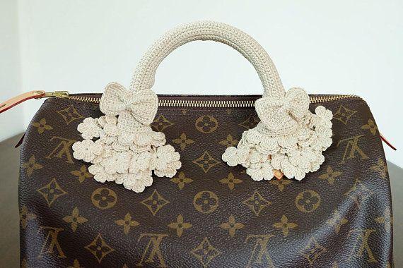 e80a3c03bc46 Cream Crochet Handles Covers Zipper Louis Vuitton LV Speedy Bag Purse  Accessories by CNX2U