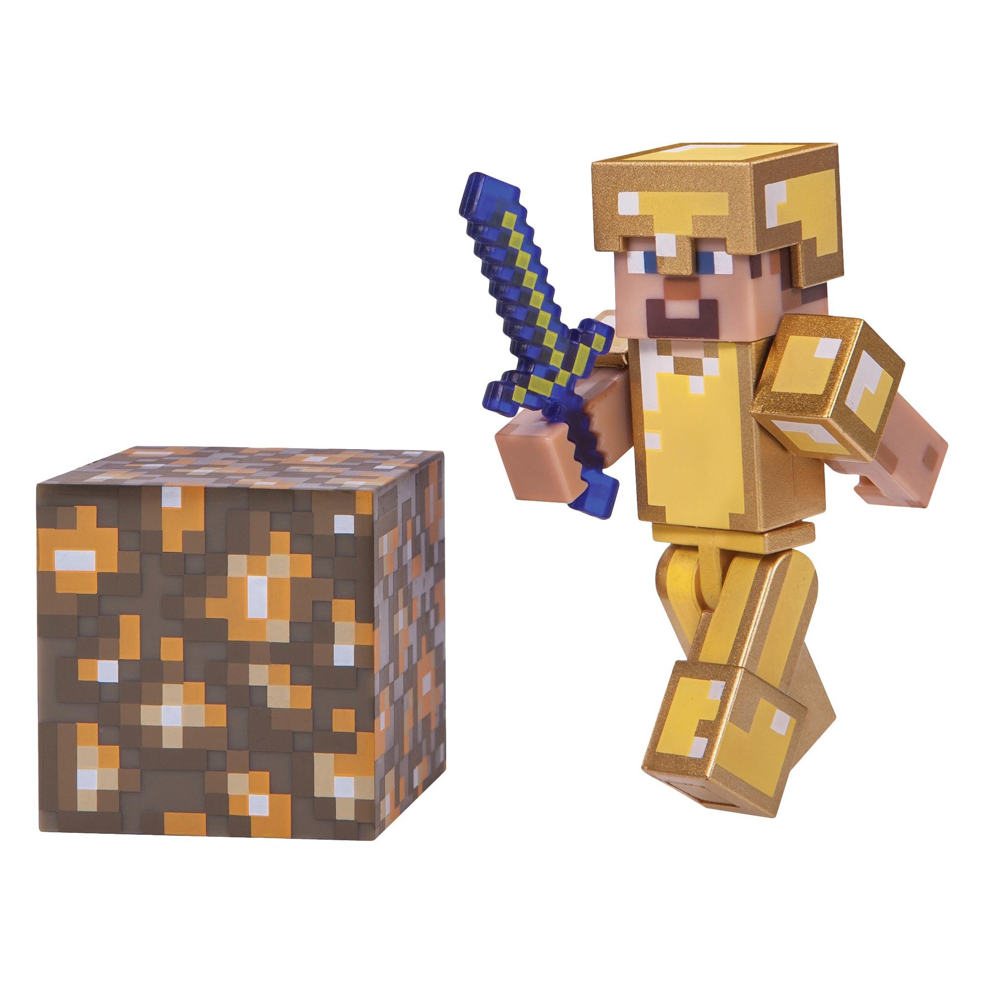Minecraft Steve SERIE 3 in oro Armor Action Figure Set