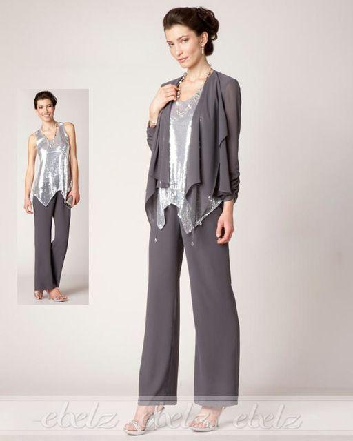 3 Piece Sliver Undershirt Chiffon Dark Gray Mother\'s Pant Suits ...