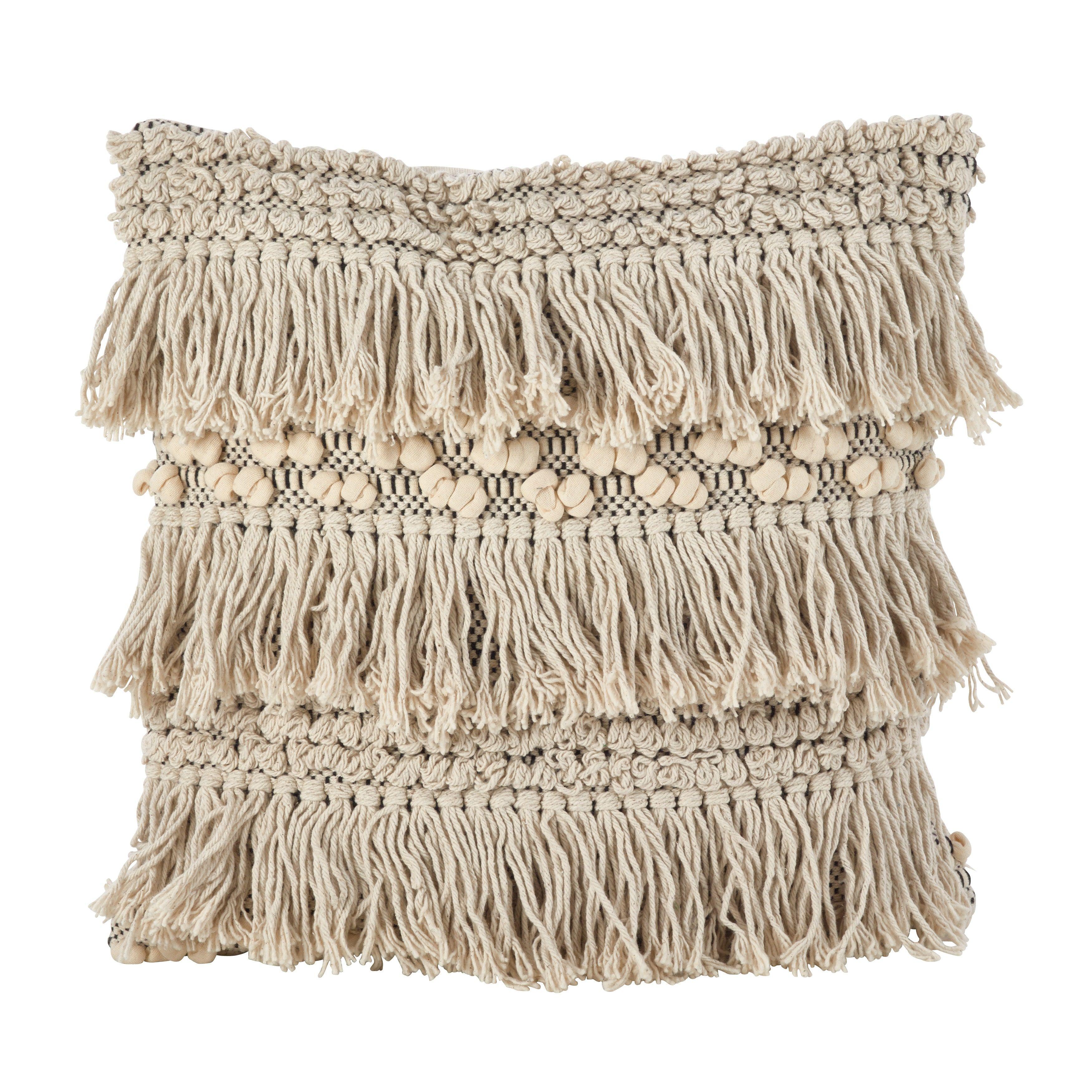 Saro Moroccan Wedding Blanket Style Fringe Cotton Down Filled Throw