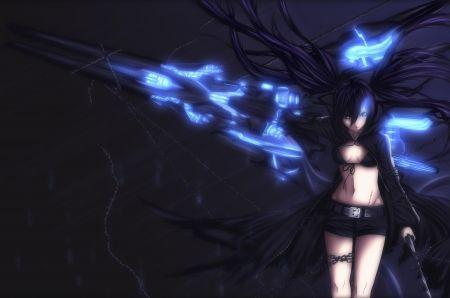 Black Rock Shooter Glowing Eyes Weapons Jacket Anime Dark