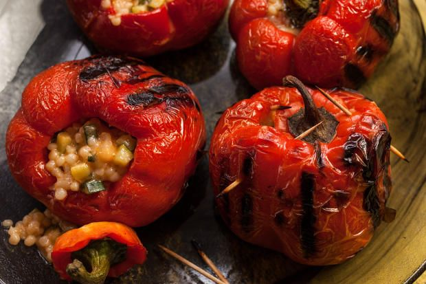 Vegetarian Stuffed Red Bell Peppers Recipe Recipe Red Bell Pepper Recipes Stuffed Peppers Bell Pepper Recipes
