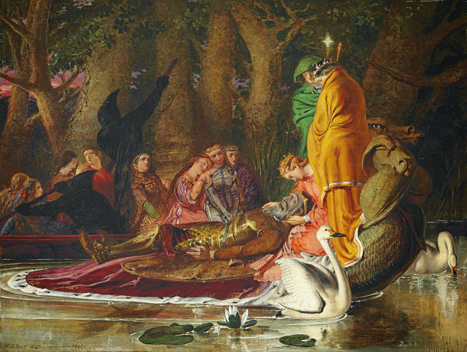 William Bell Scott King Arthur Carried To The Land Of Enchantment 1847 62 King Arthur King Arthur Legend Pre Raphaelite Art