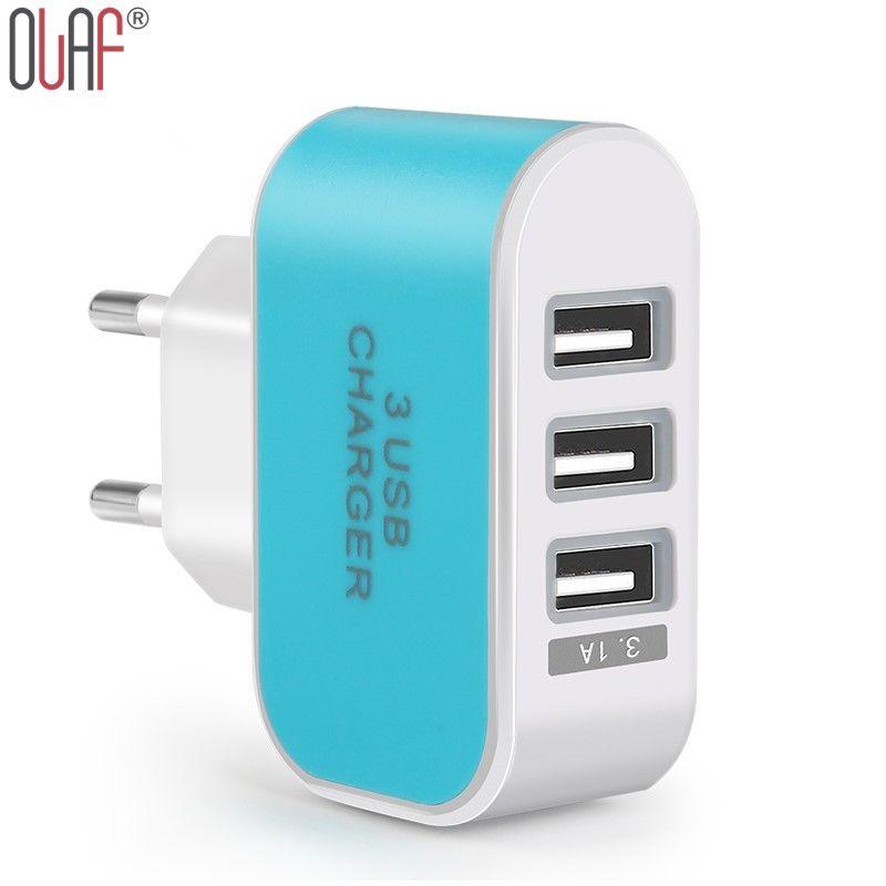 Eu plug 3 poorten meerdere muur usb smart charger adapter voor xiaomi 5 v 3a led licht snelle opladen voor iphone 6 6 plus 6 s 5 5c 5 s