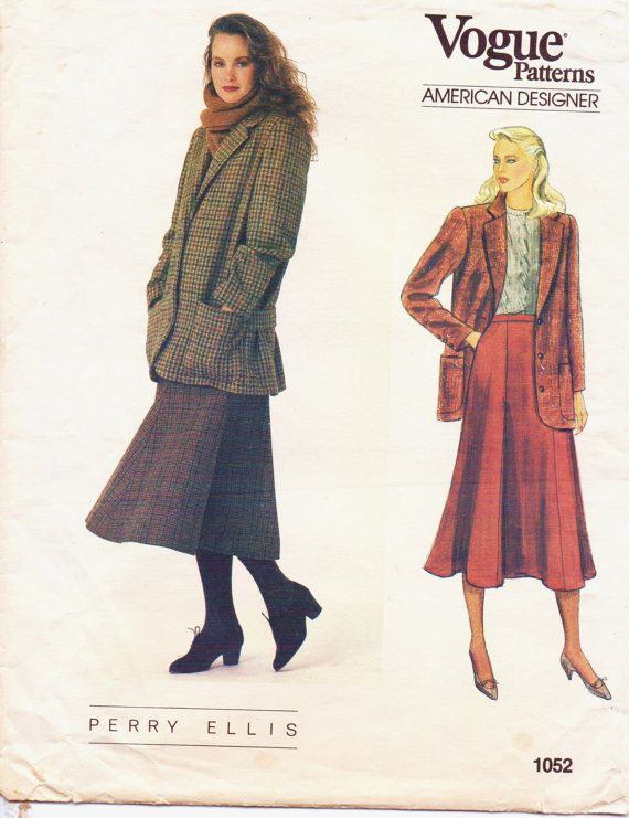 80s Vogue American Designer Pattern 1052 Perry by CloesCloset ...