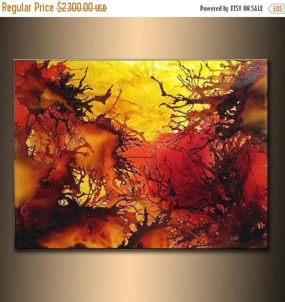 Arte contemporáneo moderno lienzo colorido original por Henry