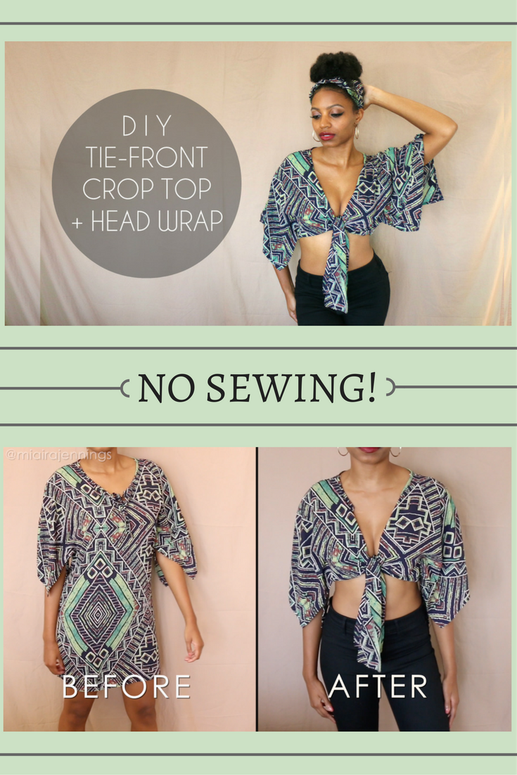 72dbd5dccb7638 Here s a quick DIY way to turn a dress into a tie-front crop top with  matching head wrap!