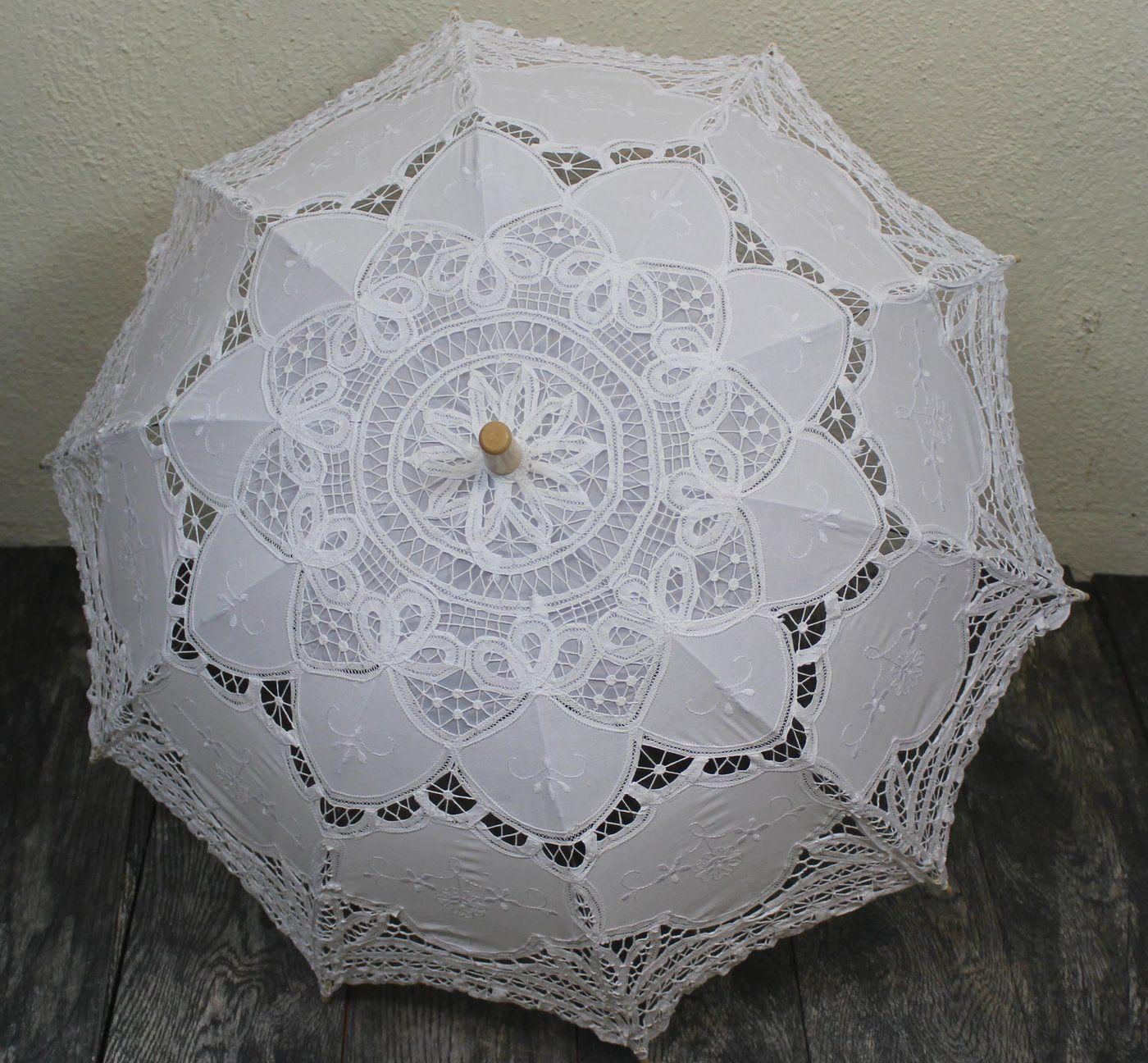 Victorian White Battenburg Lace Parasol | Lace parasol ...