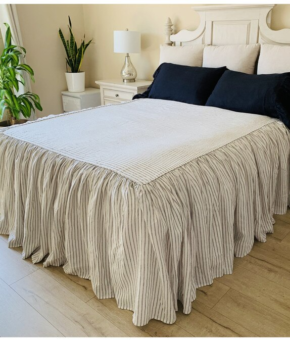 Iron White Ticking Striped Bedspread Ruffled Bed Cover In 2020 Bed Spreads Linen Bedspread White Linen Sheets