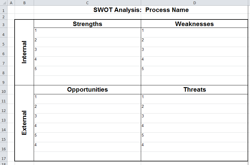 Blank Excel Sheet SWOT Analysis Matrix Template Sample : vlashed ...