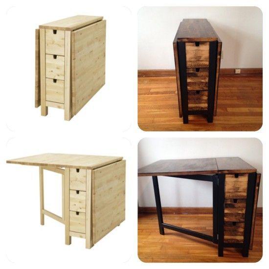 Ikea Norden Gateleg Table Goes Dark Ikea Hackers Craft Table