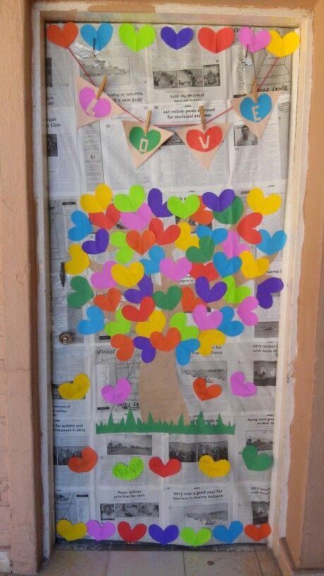 Puerta kinder 3 colegio biling e crece san valentin for Decoracion san valentin pinterest