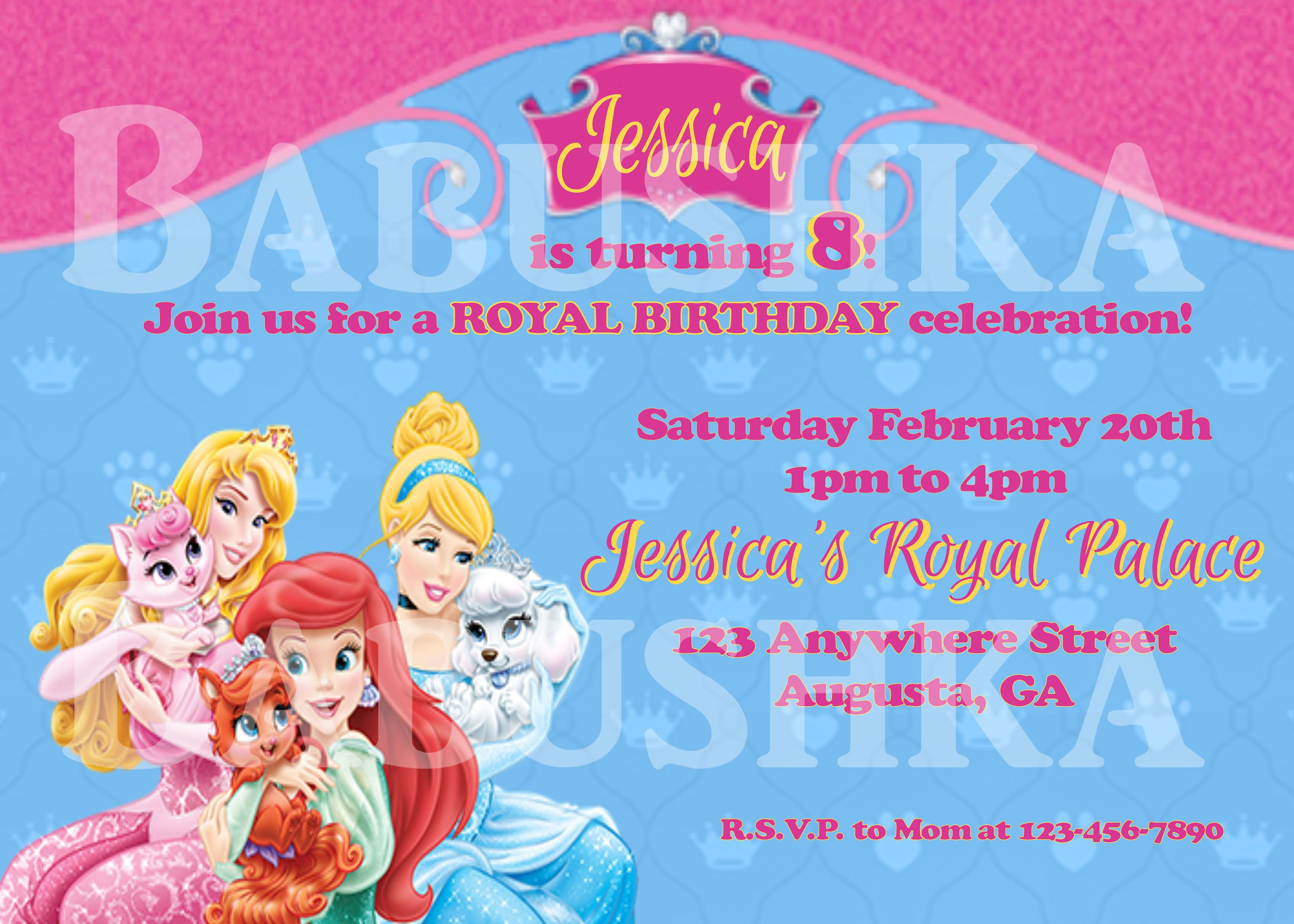 Cinderella Ariel and Aurora Palace Pets Birthday Invitation