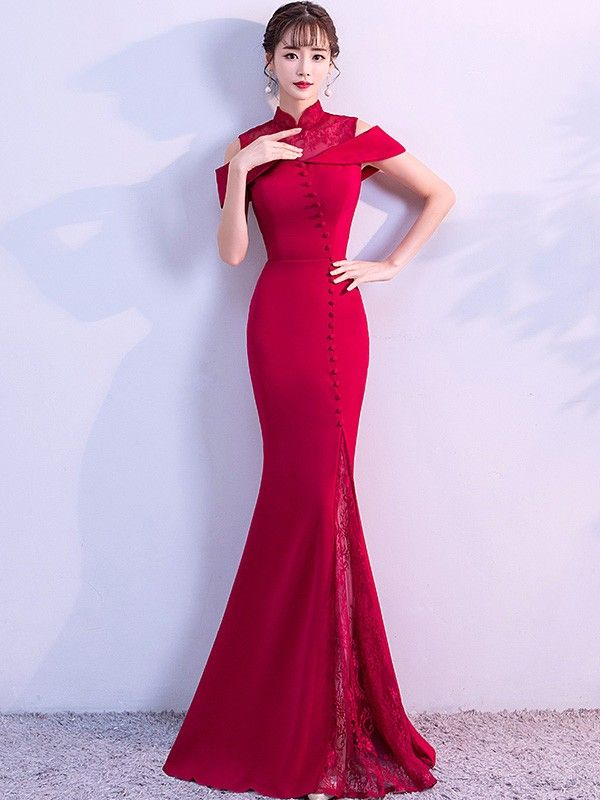 7097bad46 Wine Red Cold Shoulder Mermaid Qipao   Cheongsam Wedding Dress ...