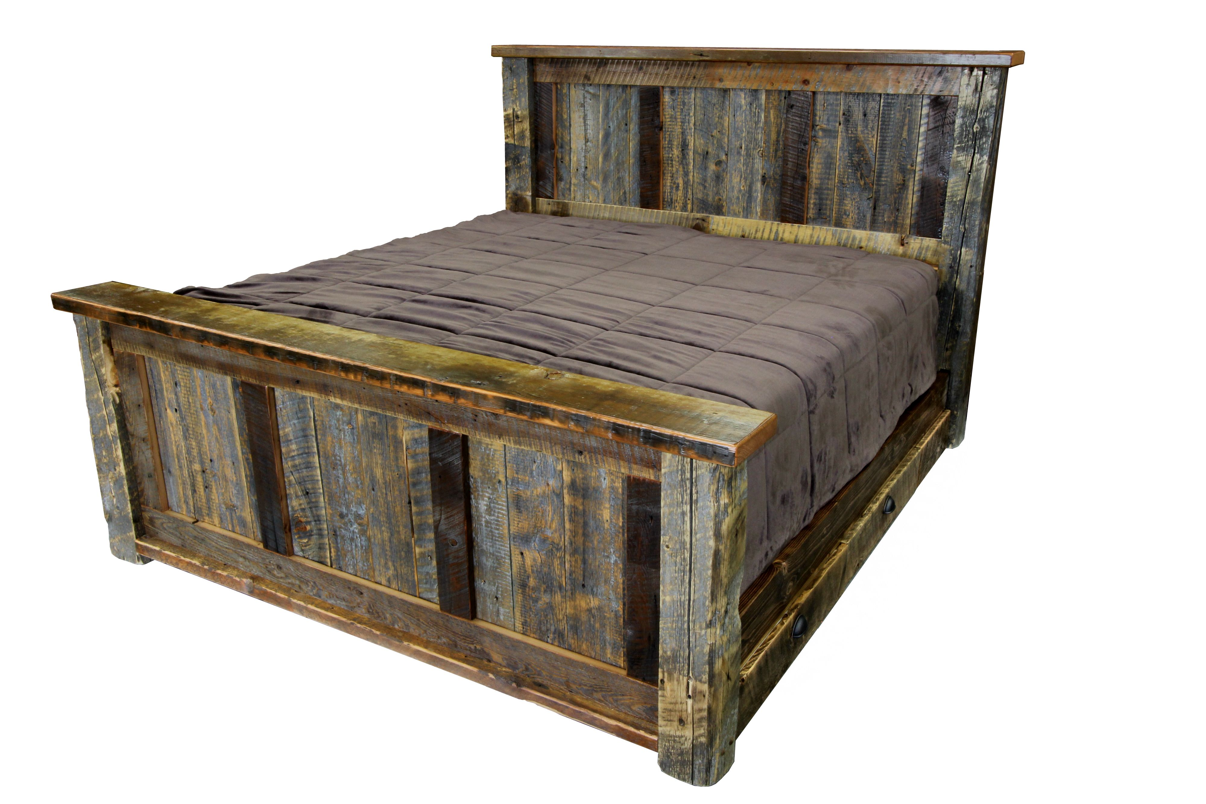 Our Most Popular Bed The Big Timber Made From Old Reclaimed Timbers And Grey Planks Available In Any Size