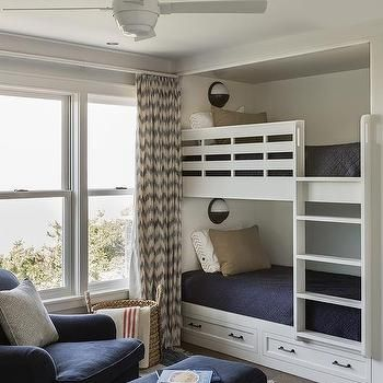 Built In Bunk Beds with Nautical Wall Sconces ...