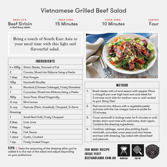 Vietnamese grilled beef salad butchers guild recipes pinterest vietnamese grilled beef salad forumfinder Images
