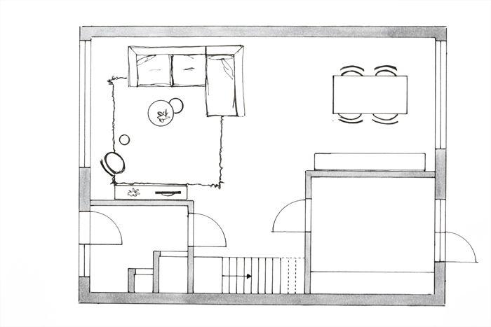 Afstanden plaatsing meubilair plattegrond meubelplan for Woonkamer intekenen
