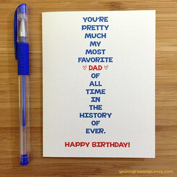 Happy Birthday Dad Card For Dad Funny Dad Card Cute Card For Dad