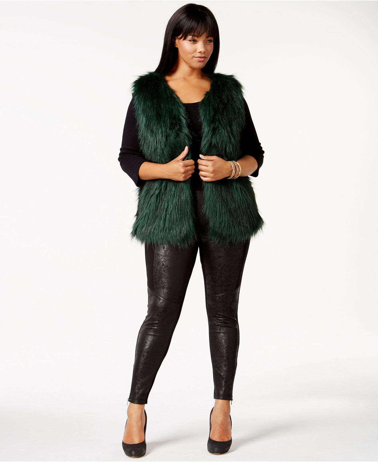 58ef926f19a Plus Size Faux Fur Vest
