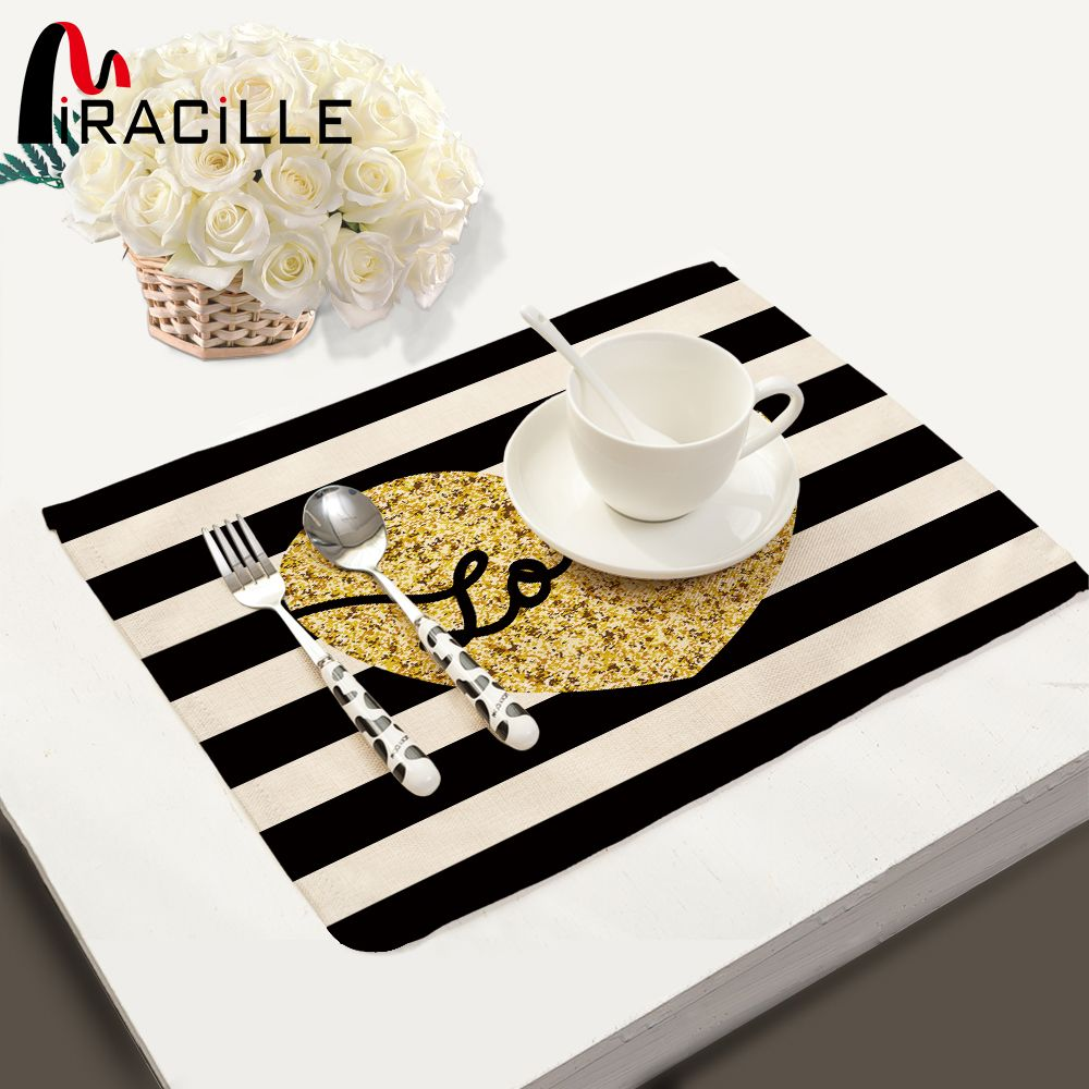 Miracille 2 4 6 Pcs Set Cotton Linen Black And White Stripe Gold Pattern Dining Table Placemats Coaster Bowl Pad Dining Table Placemats Table Pads Gold Pattern