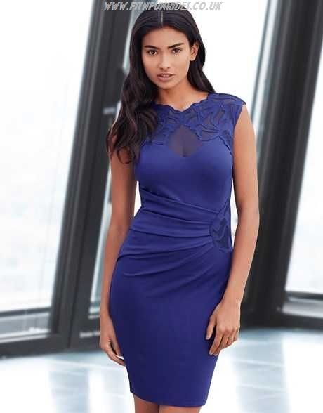 7d81693332a1 Lipsy Bodycon Dress With Lace Applique Shoulder - Navy in Blue | Lyst