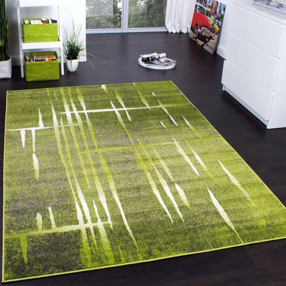 Kinderteppich grün gelb  Designer Teppich Modern Trendiger Kurzflor Teppich Meliert in Grün ...