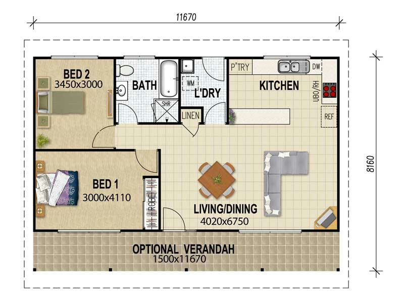 2 bedroom guest house floor plans Granny flat plans