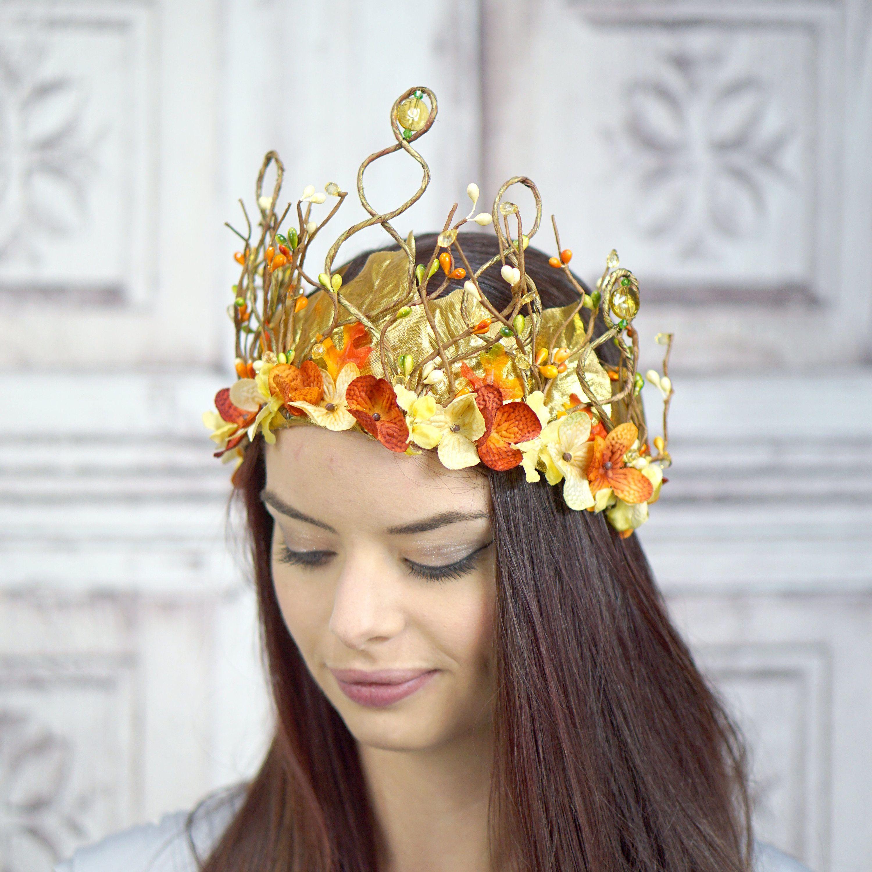 woodland goddess headpiece orange ivory and gold floral headdress