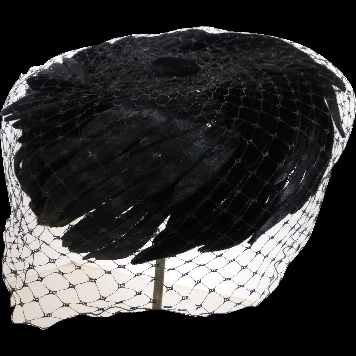 2cfec30a93b Vintage Black Silk Velvet Feather Pillbox Hat w Veil in 2019 ...