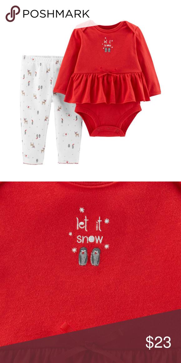 5aeedd759 Carters Organic Bodysuit   Pant set Holiday Red 2-piece set Long ...