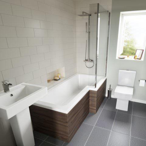 1700mm Right Hand L-Shaped Bath with 4mm Screen - soak.com ...